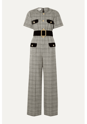 Gucci - Belted Velvet-trimmed Prince Of Wales Checked Wool Jumpsuit - Gray