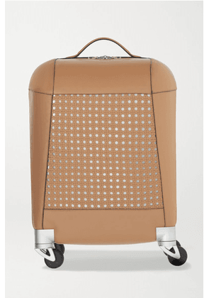 Aviteur - Paneled Woven Leather Carry-on Suitcase - Tan