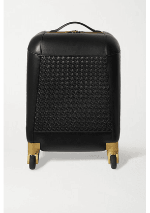 Aviteur - Paneled Woven Leather Carry-on Suitcase - Black