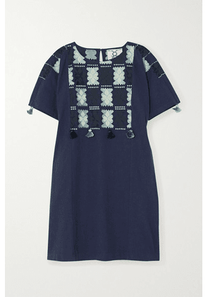 Figue - Lucia Embroidered Cotton Mini Dress - Navy