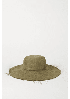 Gigi Burris - + Space For Giants Trail Frayed Mélange Linen Sunhat - Army green