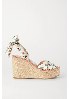Prada - Floral-print Grosgrain Espadrille Wedge Sandals - Off-white