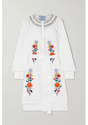 Prada - Embroidered Cotton-poplin Dress - White