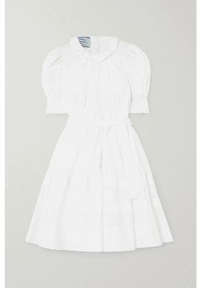 Prada - Belted Ruffled Tiered Cotton-poplin Dress - White