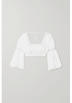Charo Ruiz - Hadi Cropped Crocheted Lace-trimmed Broderie Anglaise Cotton-blend Top - White