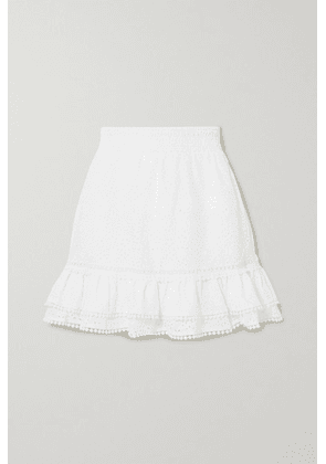 Charo Ruiz - Humy Crocheted Lace-trimmed Broderie Anglaise Cotton-blend Mini Skirt - White