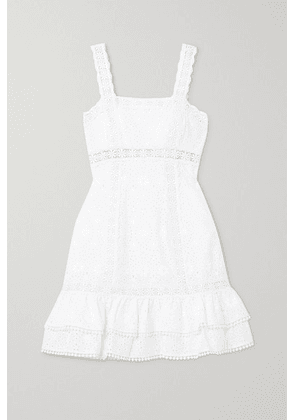 Charo Ruiz - Nawa Crocheted Lace-trimmed Broderie Anglaise Cotton-blend Mini Dress - White