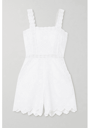 Charo Ruiz - Zuma Crocheted Lace-trimmed Broderie Anglaise Cotton-blend Playsuit - White