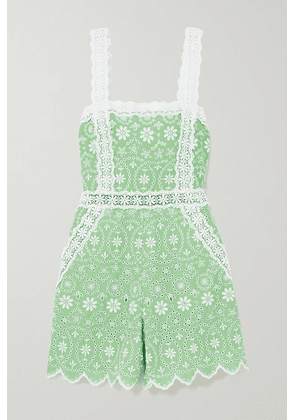 Charo Ruiz - Zuma Crocheted Lace-trimmed Broderie Anglaise Cotton-blend Playsuit - Green