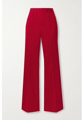SAINT LAURENT - Cotton-corduroy Flared Pants - Brick