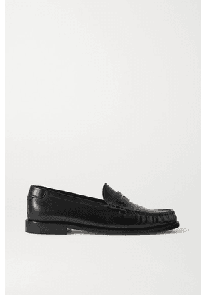 SAINT LAURENT - Logo-appliquéd Leather Loafers - Black