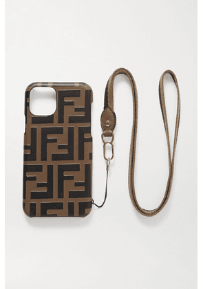Fendi - Canvas-trimmed Embossed Leather Iphone 11 Pro Case - Brown