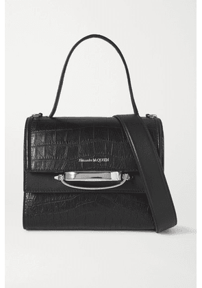 Alexander McQueen - The Story Small Croc-effect Leather Shoulder Bag - Black