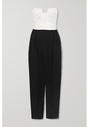 Alexander McQueen - Strapless Two-tone Ruched Wool-blend And Silk-satin Jumpsuit - Black