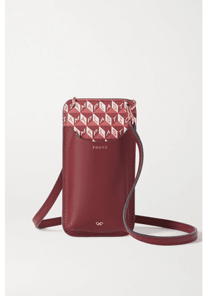 Anya Hindmarch - I Am A Plastic Bag Leather-trimmed Printed Coated-canvas Phone Case - Burgundy