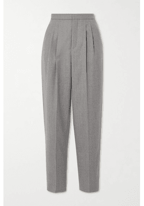 SAINT LAURENT - Pleated Wool-twill Tapered Pants - Gray