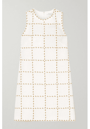 Andrew Gn - Metallic Embroidered Wool-blend Tweed Mini Dress - White