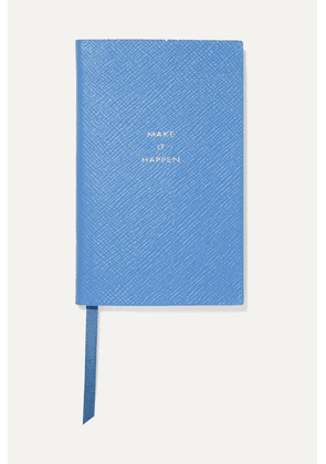 Smythson - Panama Make It Happen Textured-leather Notebook - Sky blue