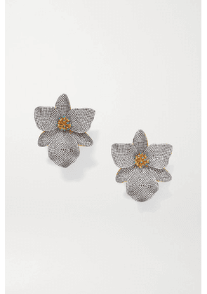 Begüm Khan - Singapore Orchids Gold-plated, Crystal And Enamel Clip Earrings - Silver