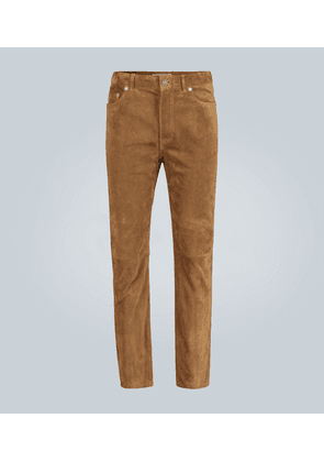 Straight-leg suede pants