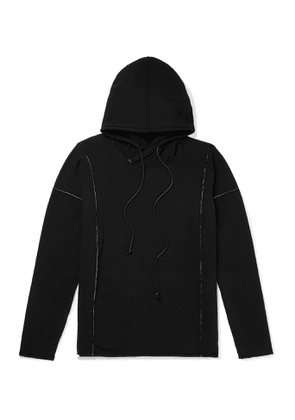 Isabel Benenato - Embroidered Loopback Jersey Hoodie - Men - Black