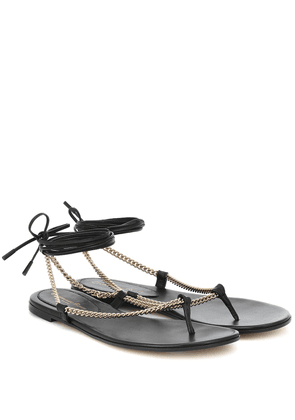 Leather and chain thong sandals