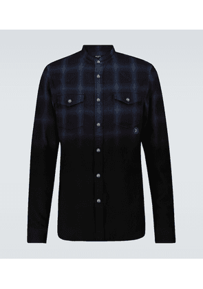 Dip-dyed checked cotton shirt