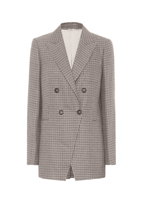 Checked linen, wool and silk blazer