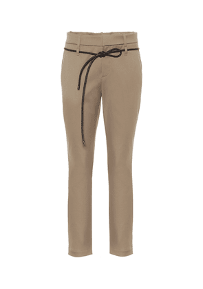 Tapered stretch-cotton pants
