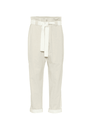 Stretch-cotton paperbag pants
