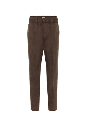 High-rise stretch-cotton pants