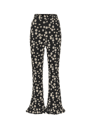 Floral high-rise flared pants