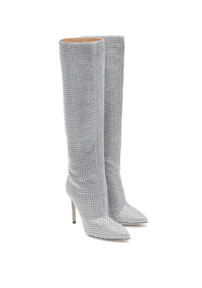 Embellished suede knee-high boots