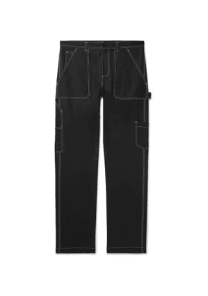 Versace - Contrast-Stitched Wool-Blend Trousers - Men - Black