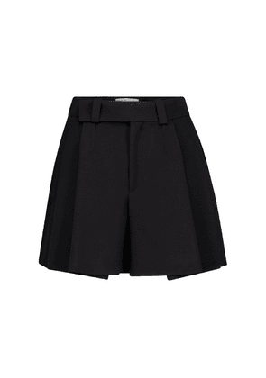 High-rise pleated cady shorts