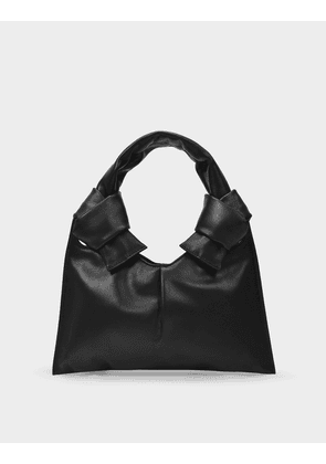 Knot Evening Tote in Black Leather