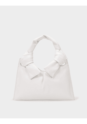 Knot Evening Tote in Cream Leather