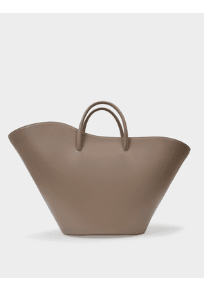 Open Tulip Tote Large in Taupe Leather