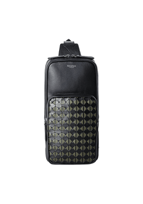 Eclipse Black & Green Mosaico Nappa Leather Sling Backpack