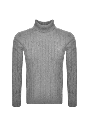 Gant Roll Neck Cable Knit Jumper Grey