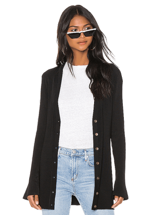 L'AGENCE Lucas Long Cardigan in Black. Size XS.