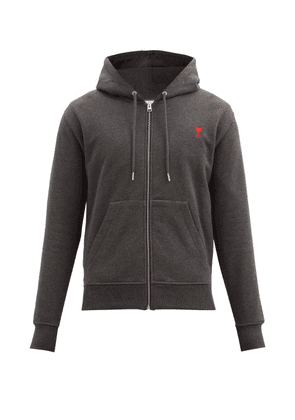 Ami - Zipped Organic-cotton Jersey Hooded Sweatshirt - Mens - Grey