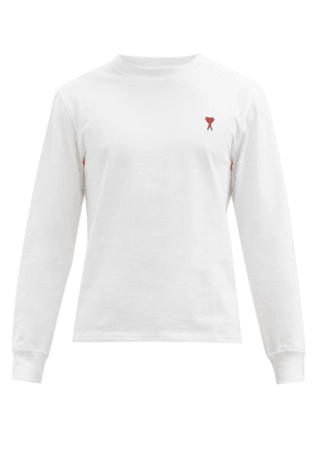 Ami - Ami De Coeur-embroidered Cotton T-shirt - Mens - White