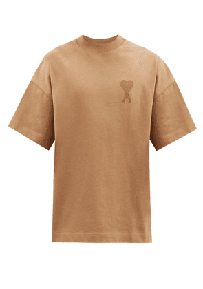 Ami - Ami De Coeur Logo-patch Cotton-jersey T-shirt - Mens - Beige