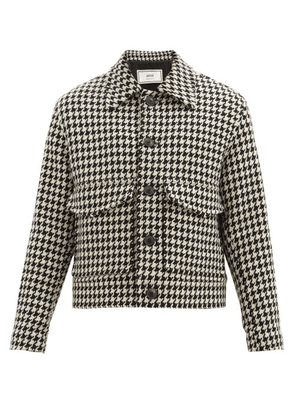 Ami - Houndstooth Wool-blend Tweed Jacket - Mens - Black White