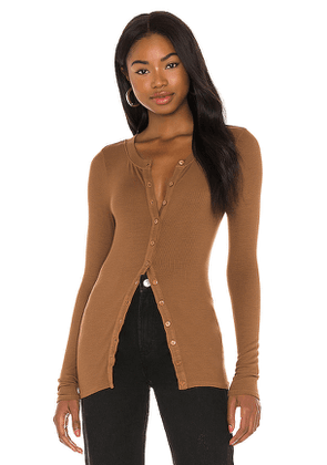 Enza Costa Silk Rib Fitted Long Sleeve Cardigan in Tan. Size S, L.