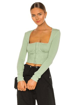 JONATHAN SIMKHAI STANDARD Recycled Rib Bustier Top in Mint. Size L, M, S.
