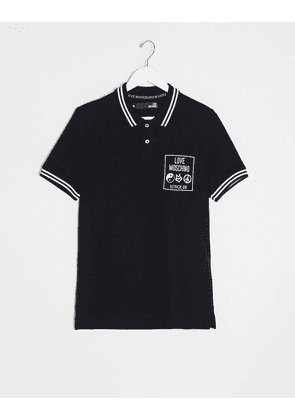 Love Moschino logo polo shirt-Black