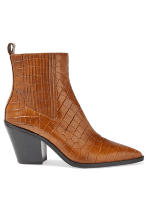 Alice + Olivia Westra Croc-effect Leather Ankle Boots Woman Camel Size 37.5