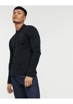 Selected Homme long sleeve polo in jersey black